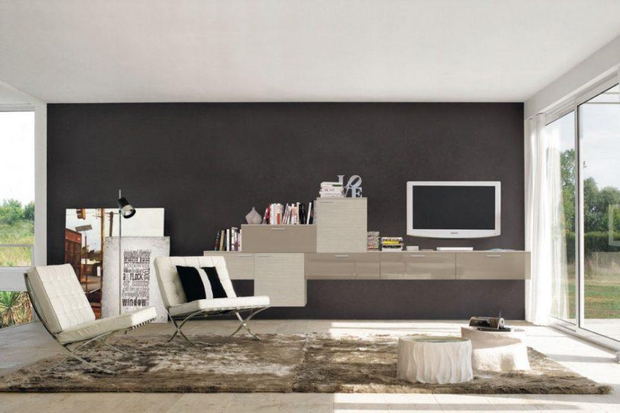 Tủ trang trí phòng khách hiện đại tạo điểm nhấn cho bức tường phòng khách nổi bật hơn