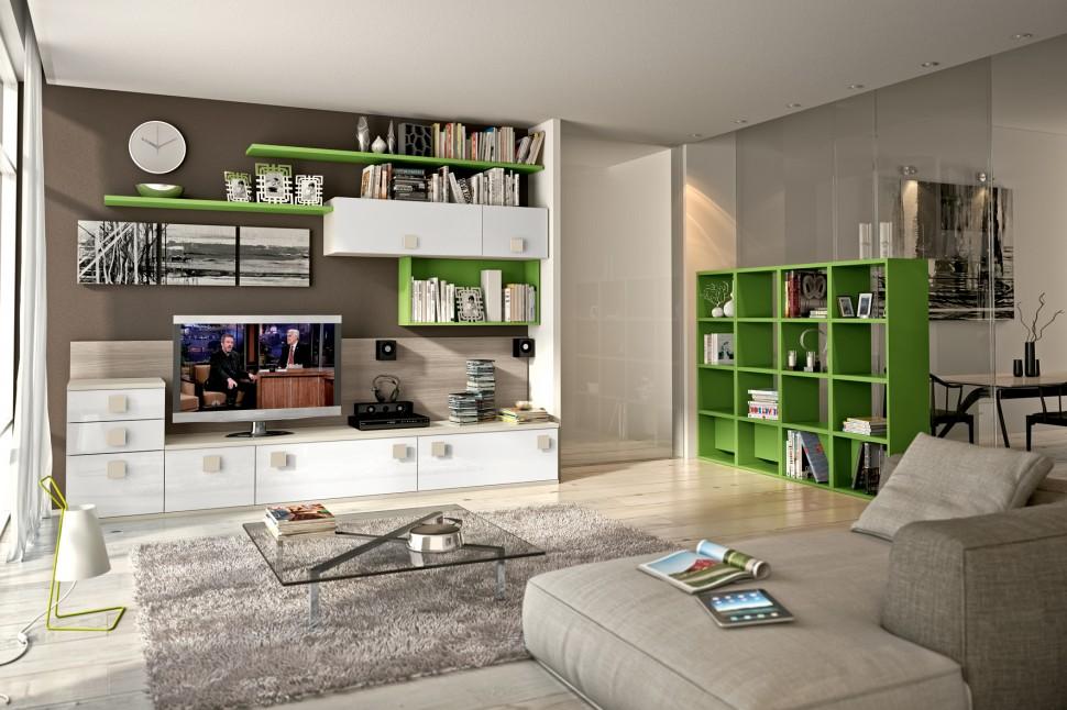 Mẫu tủ trang trí phòng khách với hai gam màu trắng xanh vừa giúp lưu trữ được nhiều đồ đạc lại không gây nhàm chán