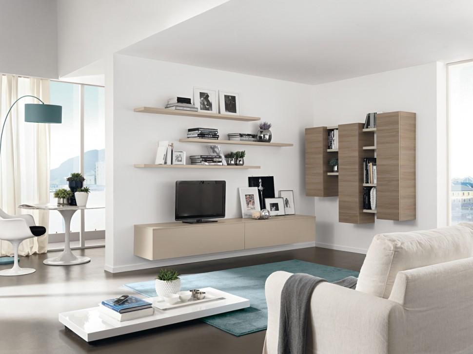 Kệ và tủ trang trí được gắn liền với tường. Đây là một trong những thiết kế phổ biến giúp tiết kiệm diện tích nhà