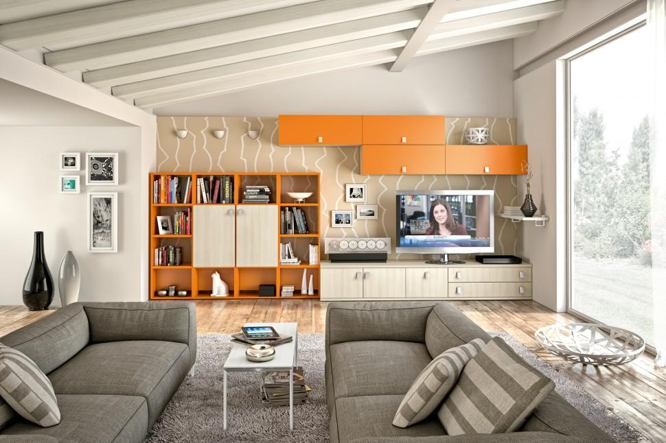 Sự xuất hiện của tone màu cam giúp cho căn phòng trở nên ấm áp và có điểm nhấn nhiều hơn