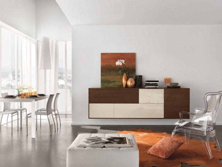 Tủ trang trí đơn giản với hai màu nhưng lại cực kỳ phù hợp với những món đồ nội thất trang trí bên trên