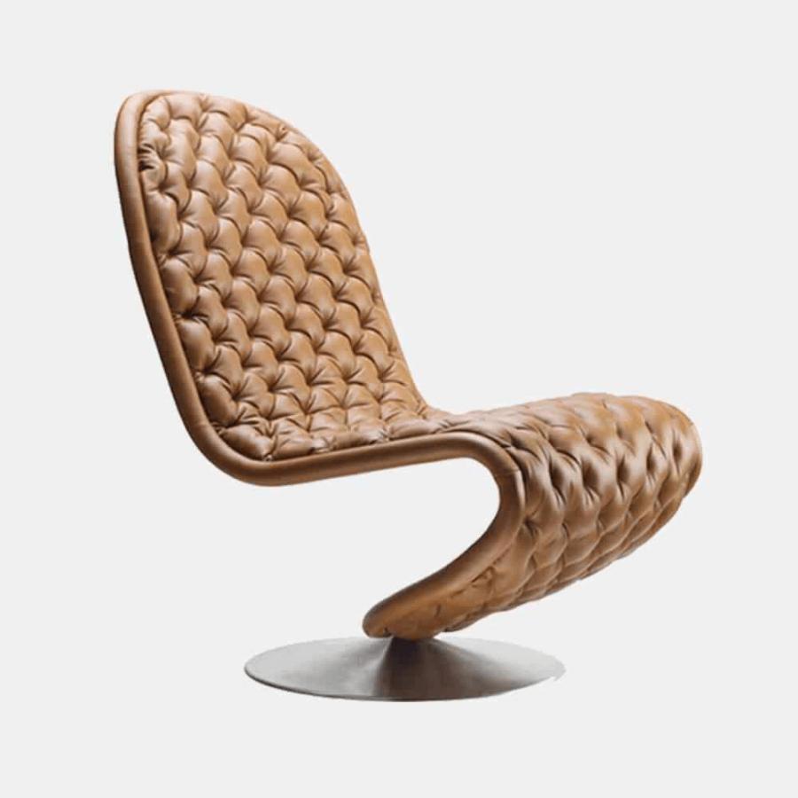 Chiếc ghế ấn tượng này có kiểu dáng hiện đại với chất liệu da. Thiết kế không có cánh tay hay bất kỳ khung gỗ cứng chắc chắn nào cả