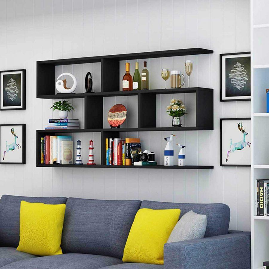 Giá sách treo tường trang trí ấn tượng khiến phòng khách thêm nổi bật hơn rất nhiều