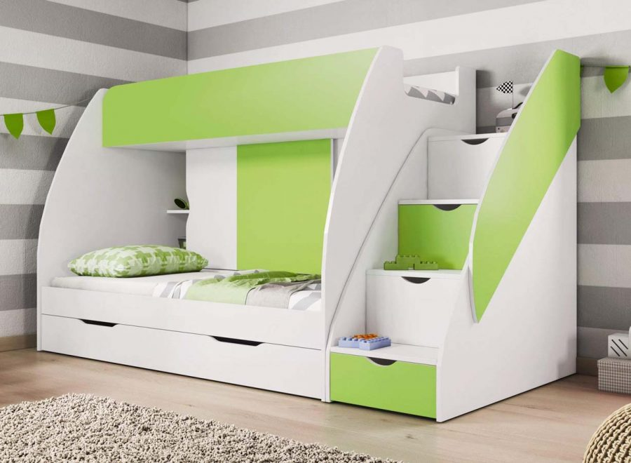 Giường tầng kết hợp nhiều không gian lưu trữ khác nhau