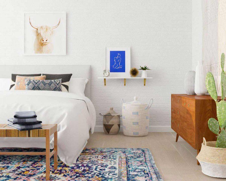 Một chiếc kệ đơn giản màu trắng khá đơn giản và nhưng lại rất phù hợp với căn phòng