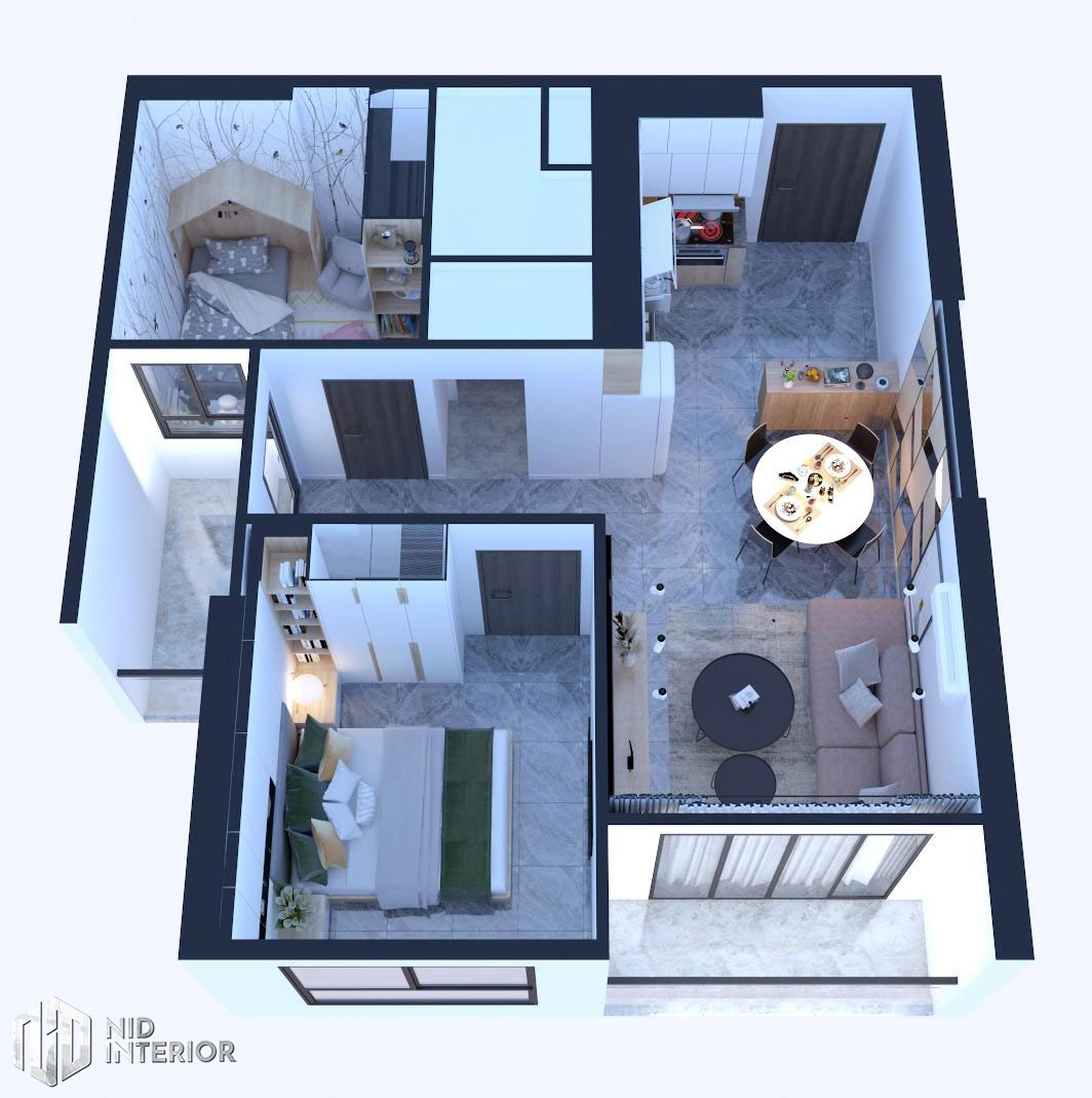 Thiết kế nội thất căn hộ Vinhomes Grand Park - Layout căn hộ