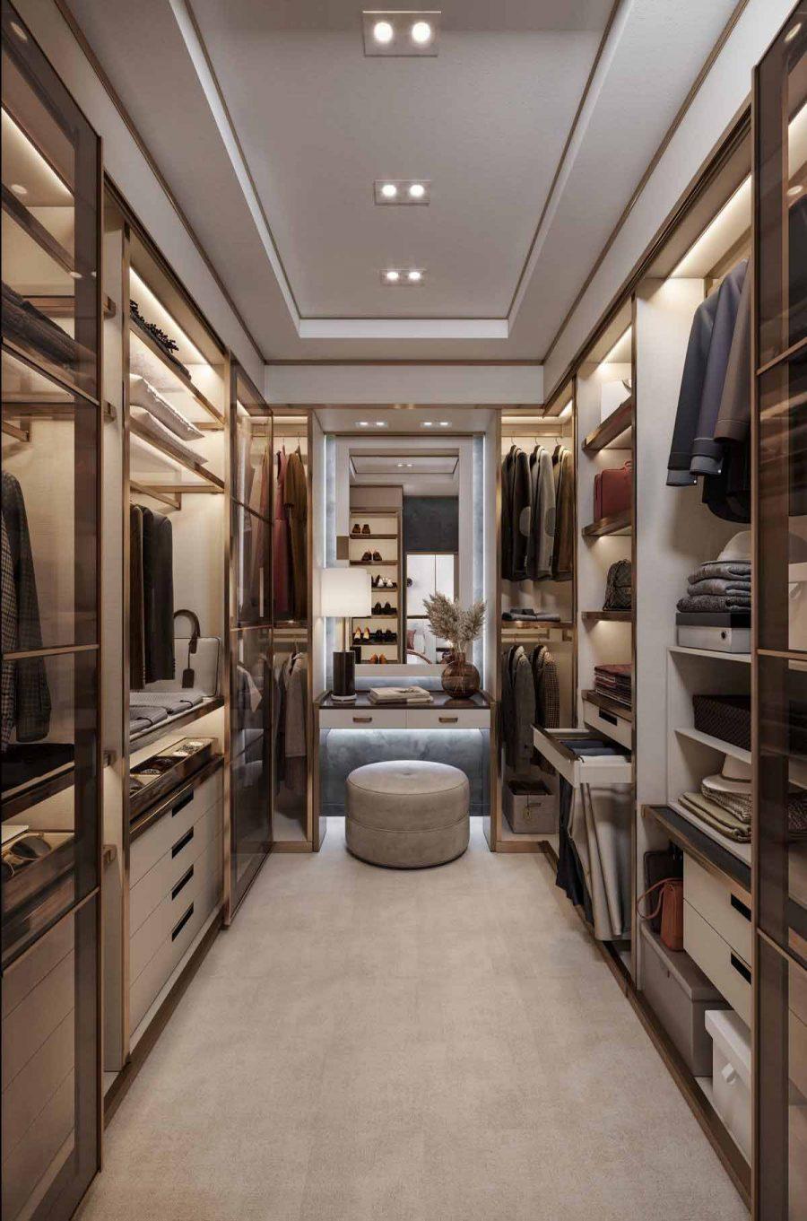 Bàn trang điểm được đặt gương ở cuối phòng hẹp sẽ giúp không gian trông rộng hơn