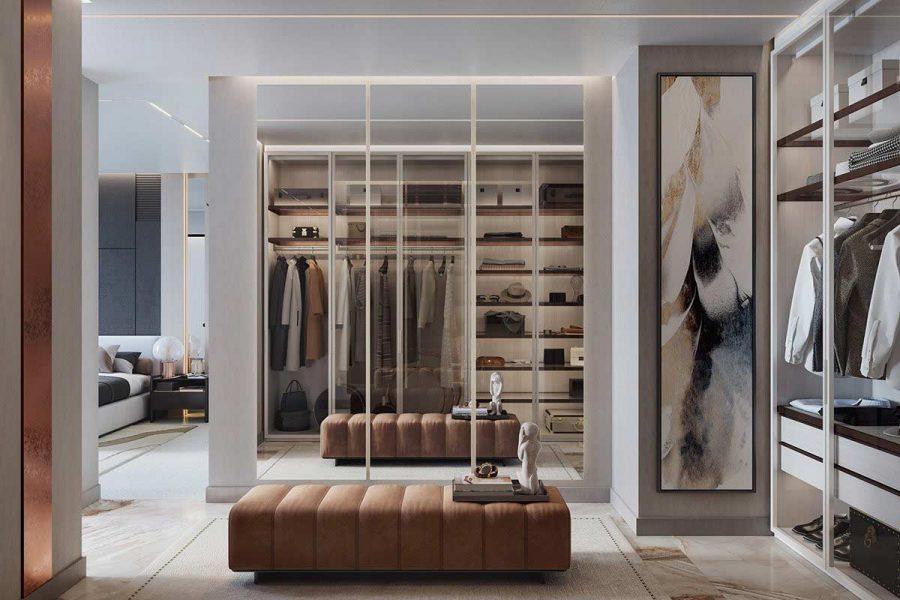 Một chiếc tủ với cửa kính giúp nâng cấp không gian căn phòng của bạn