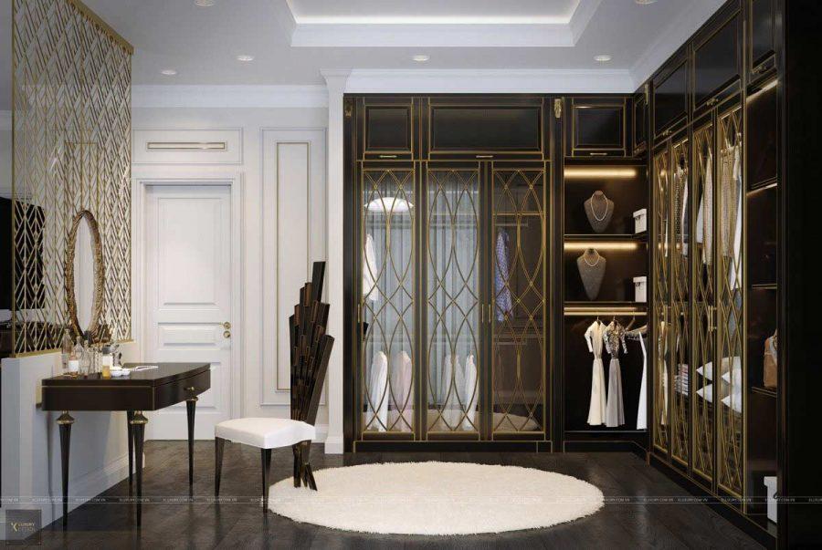 Sự hào nhoáng và quyến rũ của chiếc tủ được tạo nên bởi những nét chấm phá bằng vàng