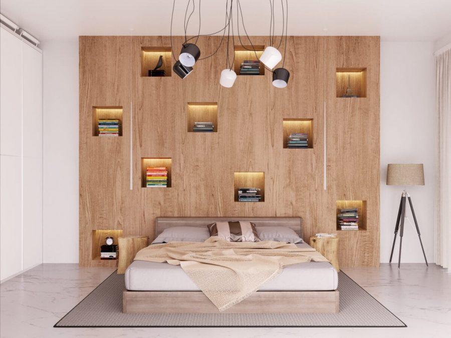 Đây thực sự là một bức tường gỗ đặc trưng đầu giường phù hợp với những người yêu sách. Với mười lỗ hình khối được chiếu sáng bằng đèn LED dễ dàng để hiển thị các ngăn xếp sách, đây là một thiết kế tuyệt đẹp và vô cùng thiết thực