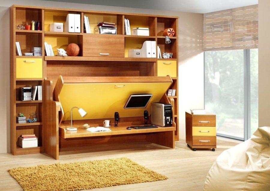 Một chiếc kệ sách bằng gỗ kết hợp với bàn làm việc cùng giường ngủ là giải pháp hoàn hảo cho những căn phòng nhỏ