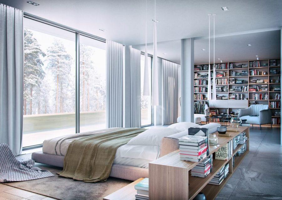Không nhiều người trong chúng ta có một phòng ngủ rộng rãi như thế này. Nhưng nếu có, chắc chắn bạn sẽ muốn lấp đầy nó bằng một kệ sách gỗ như thế này. Toàn bộ một bức tường đã được lấp đầy từ trên xuống dưới với kệ sách khổng lồ