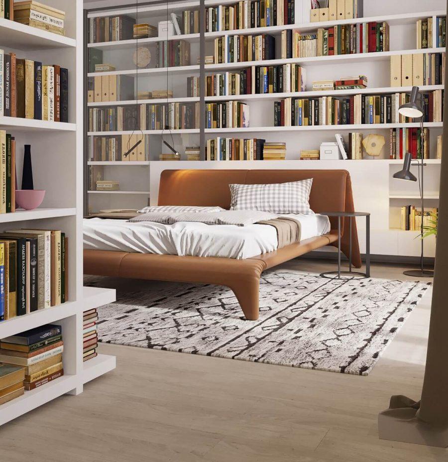 Cũng là một phòng ngủ với kệ sách gỗ công nghiệp lớn. Nhưng lần này nó được đặt trong phòng ngủ có diện tích khiêm tốn hơn. Không chỉ giữ chức năng lưu trữ sách, kệ sách này còn góp phần tạo nên điểm nhấn ấn tượng cho phòng ngủ thay thế cho bức tường tẻ nhạt