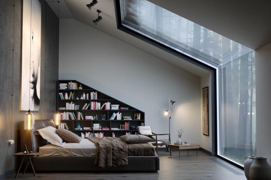 Tủ sách bằng gỗ này được xây dựng và thiết kế theo cùng hình dạng của bức tường dốc nhưng với quy mô nhỏ hơn. Góc đọc sách với ghế tựa vô cùng thoải mái, đèn đọc sách trên sàn và cửa sổ rộng với tầm nhìn đẹp giúp bạn có tâm trạng đọc sách hơn hẳn