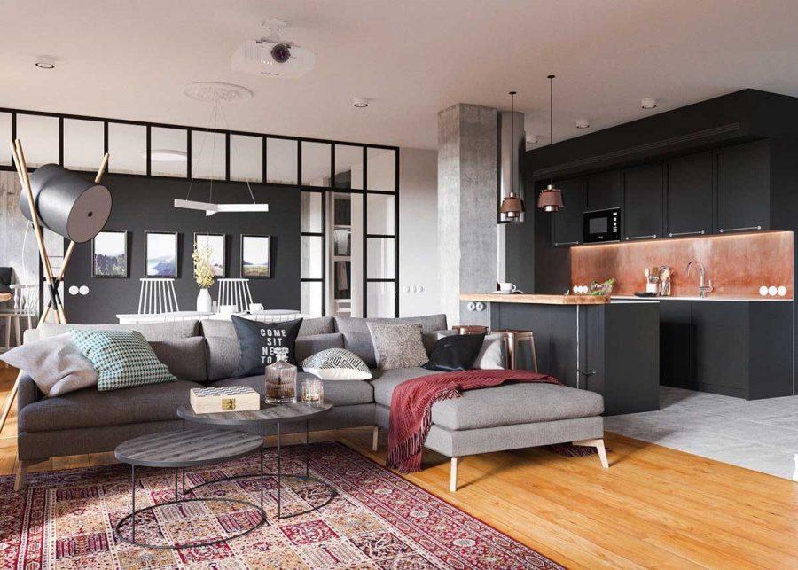 Phòng khách nối liền với phòng bếp và được phân chia bởi quầy bar ở giữa