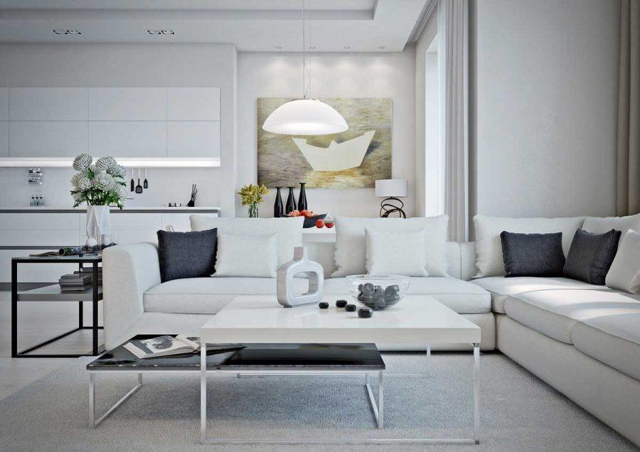 Màu sắc của mẫu nội thất căn hộ 1 phòng ngủ đều chọn những gam màu sáng để giúp không gian được trở nên thông thoáng