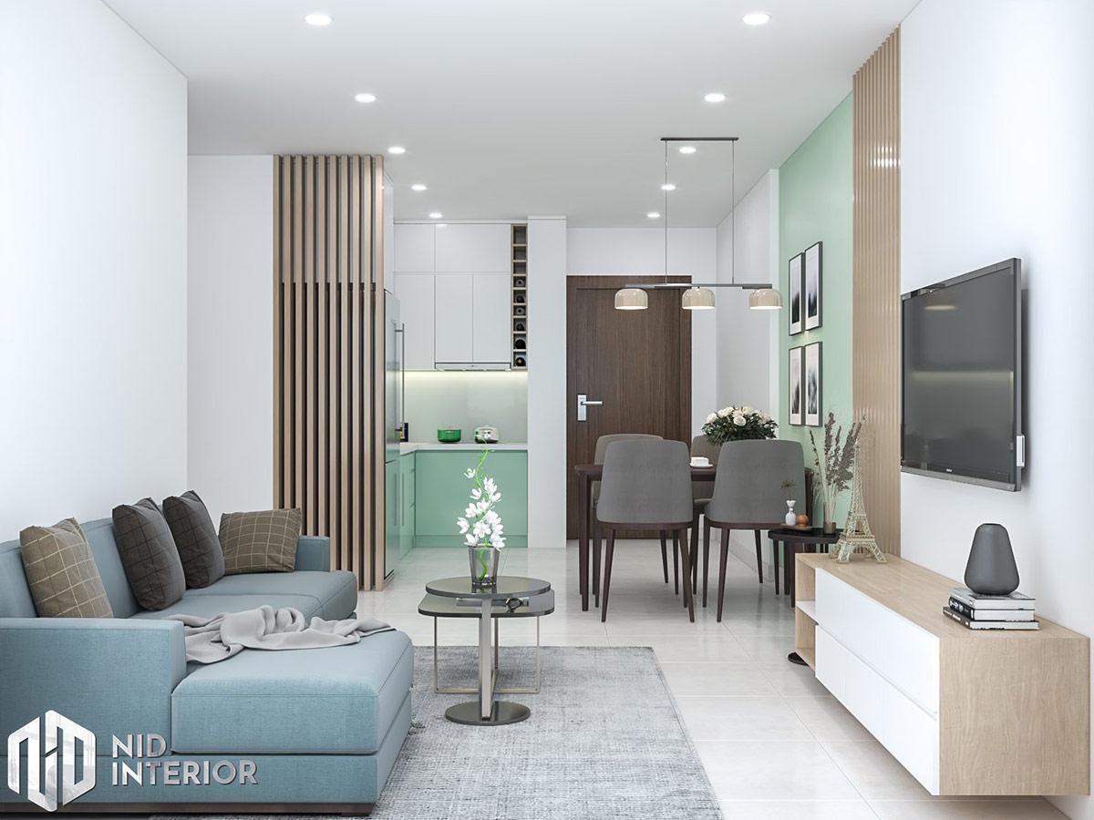 Thiết kế nội thất căn hộ Vinhomes Grand Park 69m2 - Phòng khách