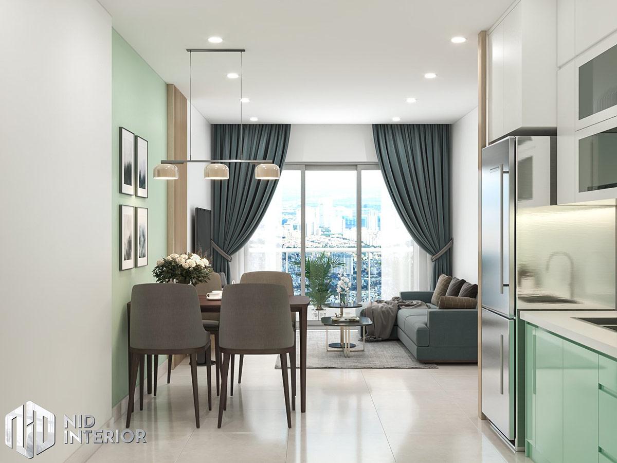 Thiết kế nội thất căn hộ Vinhomes Grand Park 69m2 - Phòng khách bàn ăn