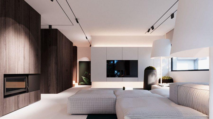 Ngôi nhà với gam màu chủ đạo là trắng kết hợp thêm gam màu tối của gỗ óc chó khiến cho ngôi nhà trở nên ấn tượng và sắc nét hơn
