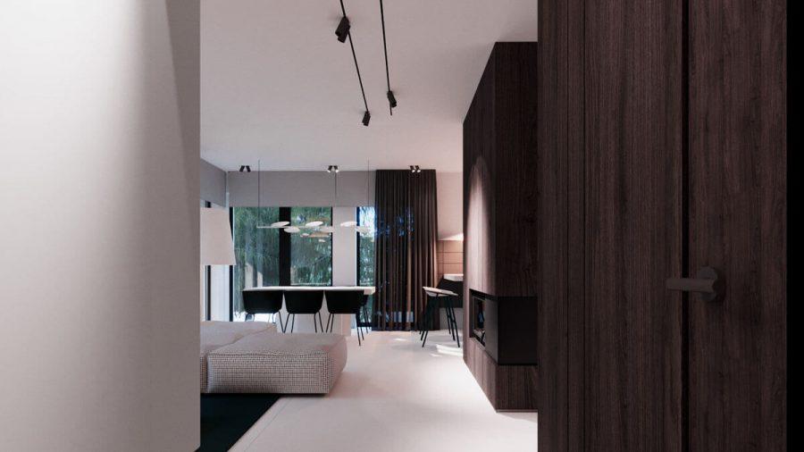 Toàn bộ phần gỗ được thiết kế chỉ nghiêng về một phía của căn nhà
