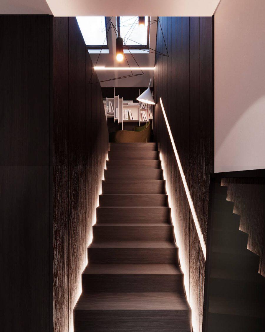 Ngoài ra, nếu bạn là một người yêu sách chính hiệu thì bên ngoài còn có một kho sách phía trong và xung quanh cầu thang trong ngôi nhà này. Cầu thang có các bậc và hai bên tay vịn đều được làm bằng gỗ đẹp mắt