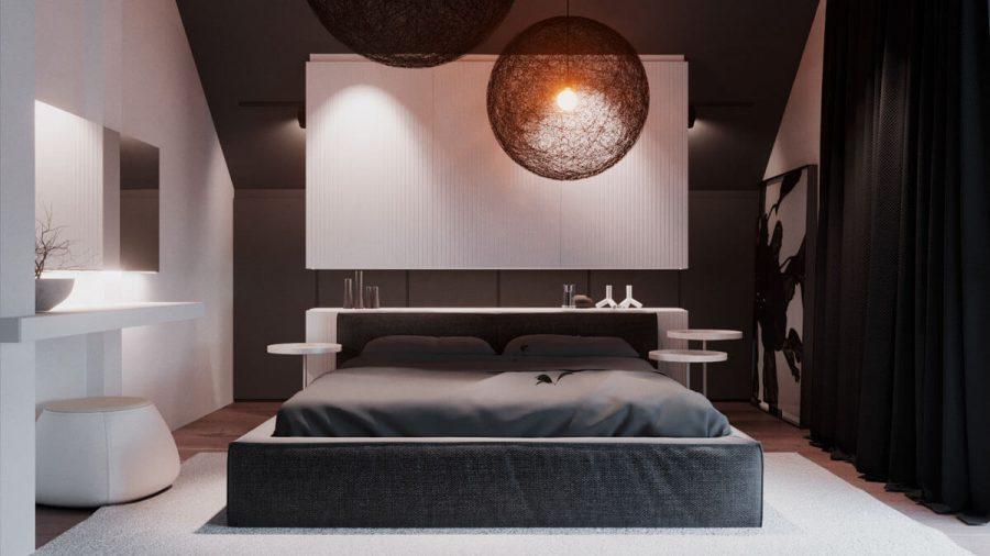 Phòng ngủ được bao bọc bởi hai tone màu hoàn toàn đối lập