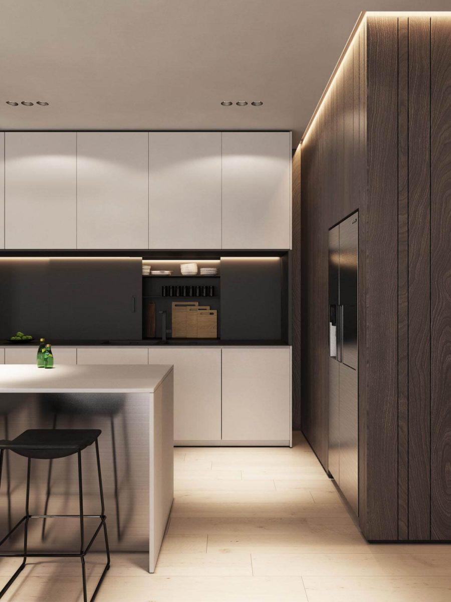 Tủ màu trắng làm tôn lên vẻ ngoài của gỗ óc chó trong nhà bếp, cũng như cách phối hợp đèn LED thông minh làm nhà bếp trở nên nổi bật hơn hẳn
