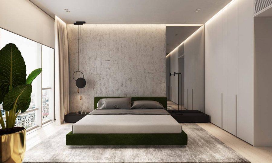 Sàn gỗ màu nhạt kết hợp với bức tường bê tông màu xám mang đến sự hòa quyện tuyệt vời
