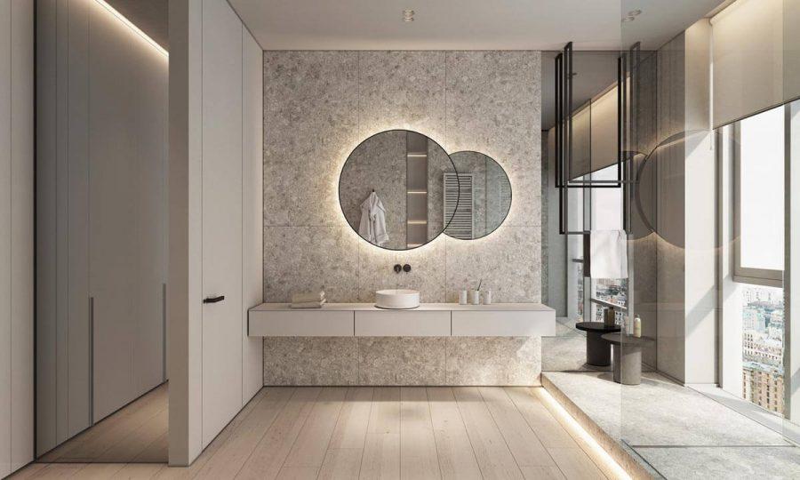 Phòng tắm thoáng đãng sạch sẽ với đá hoa cương làm vật liệu chính
