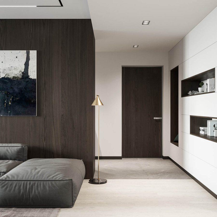 Cửa nội thất của ngôi nhà này có tông màu phù hợp với mảng tường
