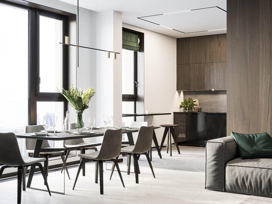 Một chiếc bàn gỗ màu nâu sẫm đối lập với sàn nhà cũng được làm từ chất gỗ tương tự nhưng với gam màu sáng hơn