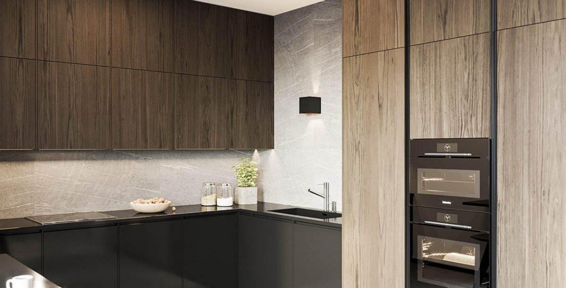 Tủ đế, bồn rửa và mặt bàn có màu đen tương phản