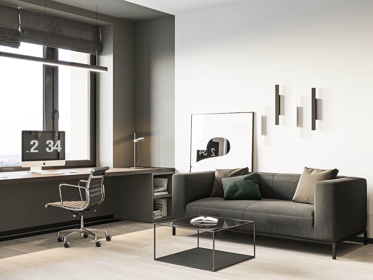 Phòng làm việc tại nhà với một chiếc bàn chắc chắn bằng gỗ được đặt ngay cửa sổ