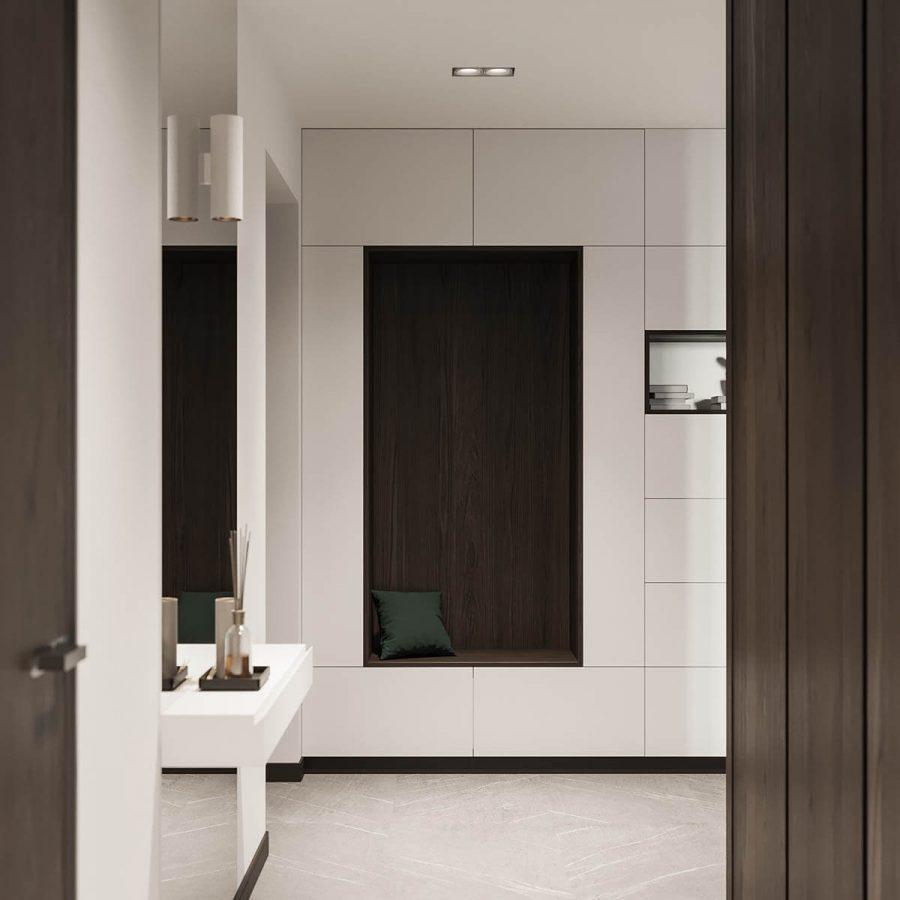 Góc tủ được bao phủ hoàn toàn bằng gỗ sẫm màu, khiến nó nổi bật hơn so với những chiếc tủ trắng xung quanh