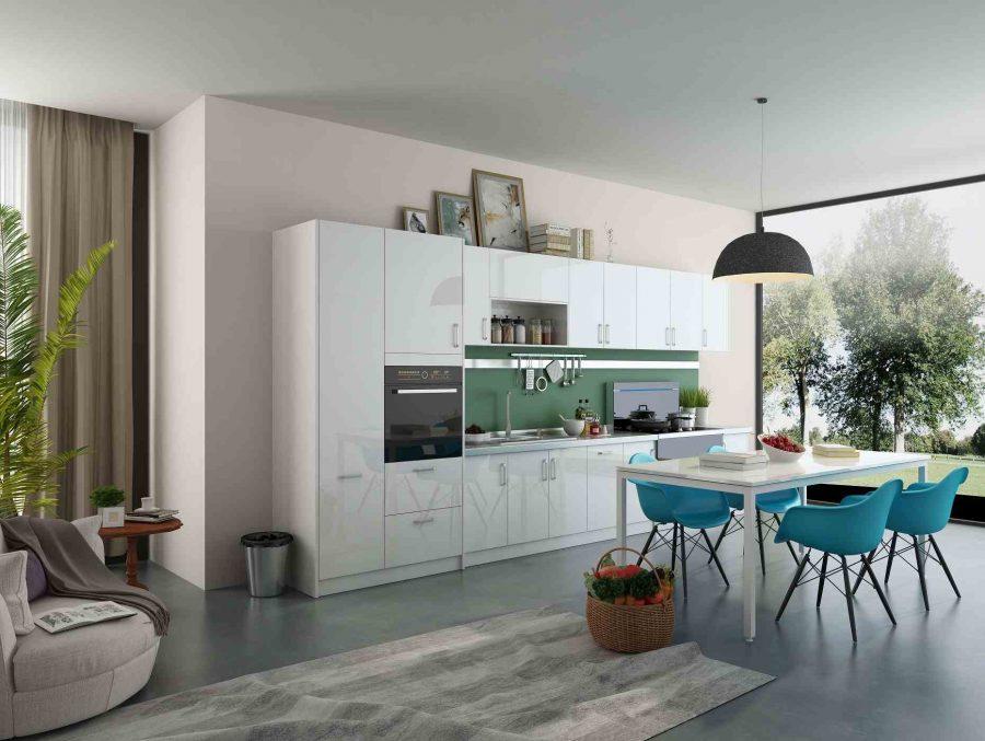 Tủ bếp màu trắng mang lại cảm giác hài hòa, trang nhã