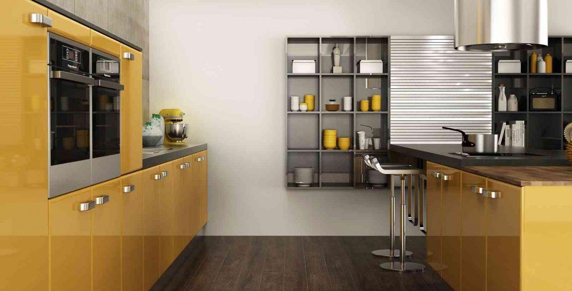 Tủ bếp Acrylic gam màu vàng mang lại vẻ ngoài đầy quyến rũ và thu hút