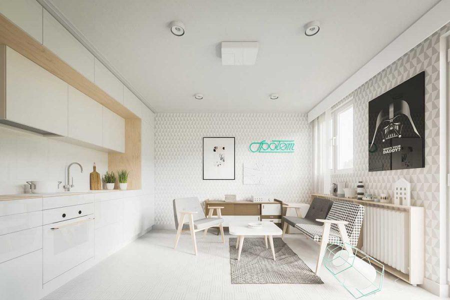 Phòng khách kết hợp với nhà bếp giúp tiết kiệm không gian hiệu quả