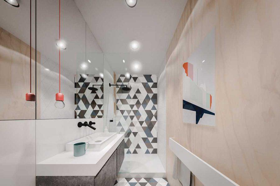 Phòng tắm có cách thiết kế và màu sắc trái ngược hoàn toàn với các không gian còn lại của ngôi nhà nhưng hiệu quả mà nó mang lại là tuyệt đối