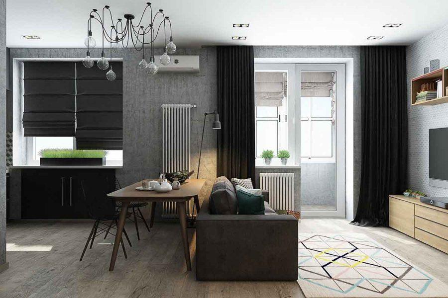 Thiết kế căn hộ 50m2 với không gian phòng khách và phòng bếp nối liền nhau và được ngăn cách bởi một chiếc bàn ăn