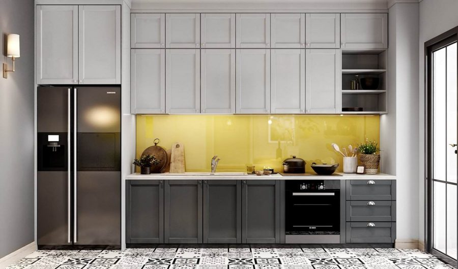 Thiết kế căn hộ 70m2 với tủ bếp hình chữ I nhằm tăng khả năng lưu trữ cũng như mang lại vẻ đẹp cho căn hộ