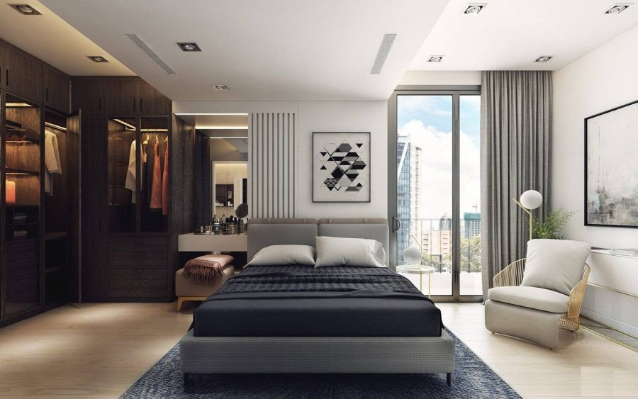 Thiết kế căn hộ 70m2 với phòng ngủ của ba mẹ sử dụng gam màu trầm ấm và cực kỳ yên tĩnh