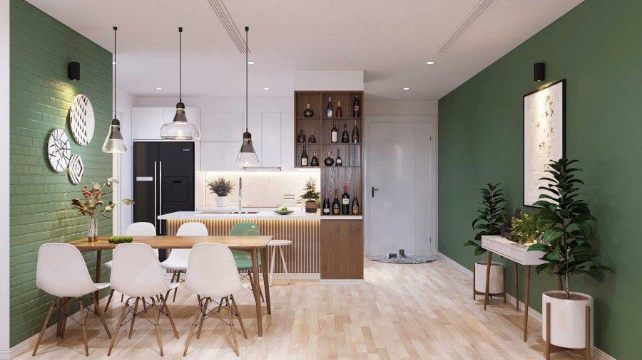 Ngoài màu trắng làm tông chủ đạo thì nội thất căn hộ 70m2 này còn sử dụng thêm màu xanh lá lạ mắt để tạo nên sự ấn tượng cho không gian