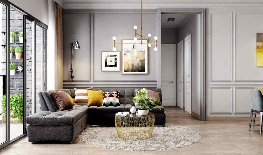Bộ sofa góc được bọc nệm êm ái cùng chiếc bàn trà bằng kim loại độc đáo khiến cho phòng khách thêm ấn tượng