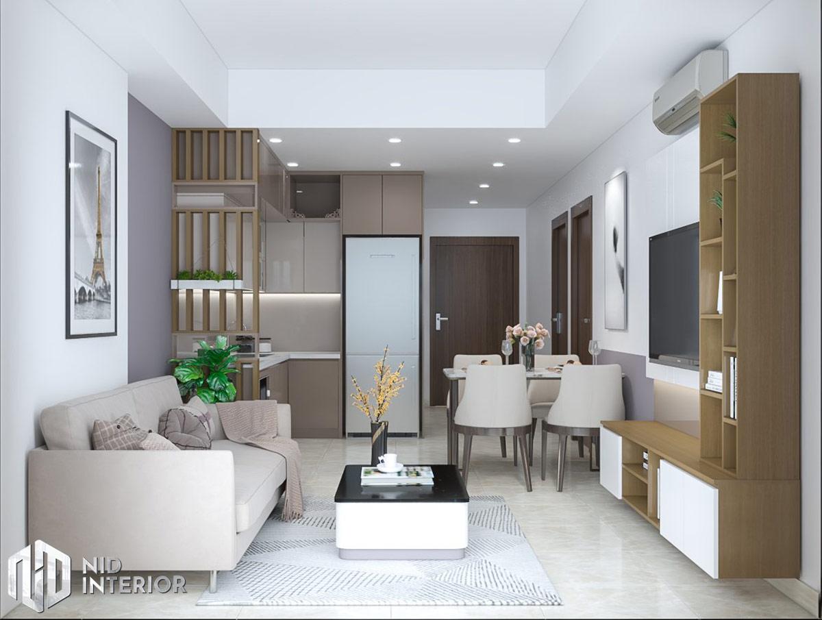 Thiết kế nội thất căn hộ Centum Wealth 2 phòng ngủ - Phòng khách