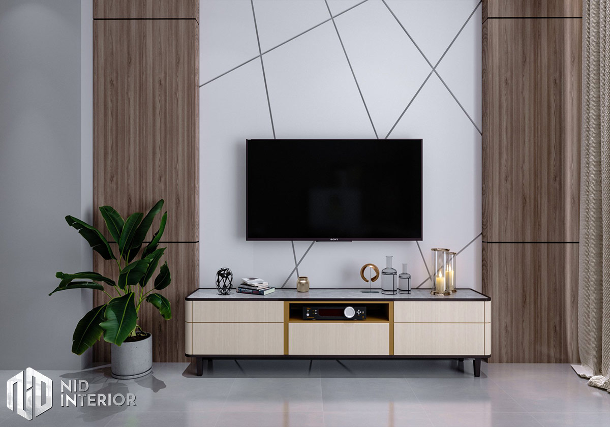 Mẫu thiết kế nội thất nhà phố Thủ Đức - Kệ tivi phòng khách