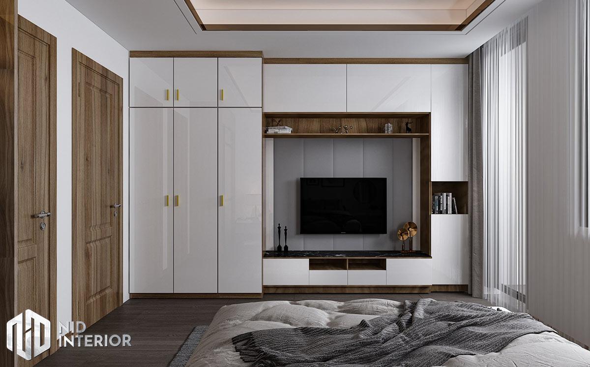 Mẫu thiết kế nội thất nhà phố Thủ Đức - Tủ đồ kệ tivi