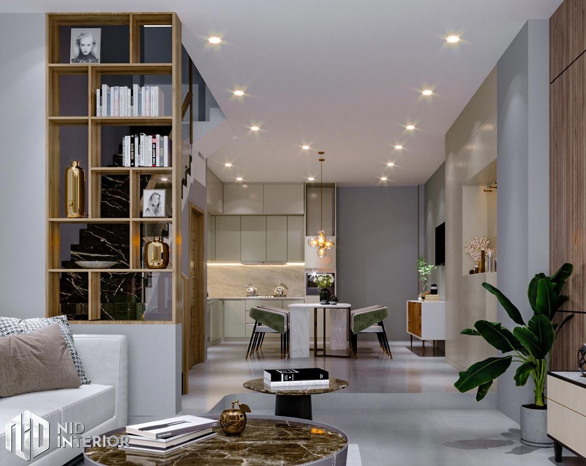 Mẫu thiết kế nội thất nhà phố Thủ Đức - Phòng khách, bếp