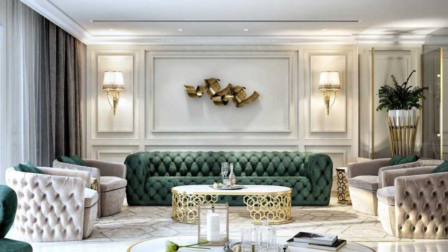 Hệ thống đèn Led âm trần và đèn tường hoạt động giúp phòng khách trở nên sang trọng