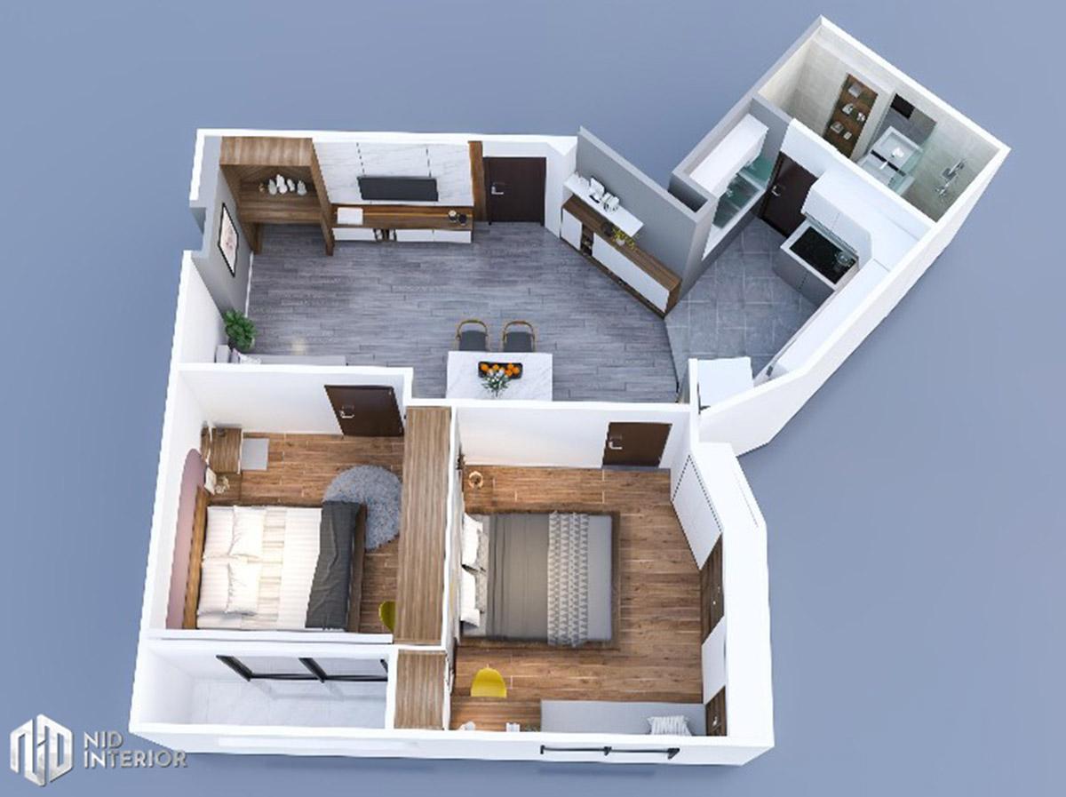 Cải tạo nội thất căn hộ chung cư 2 phòng ngủ - Layout căn hộ