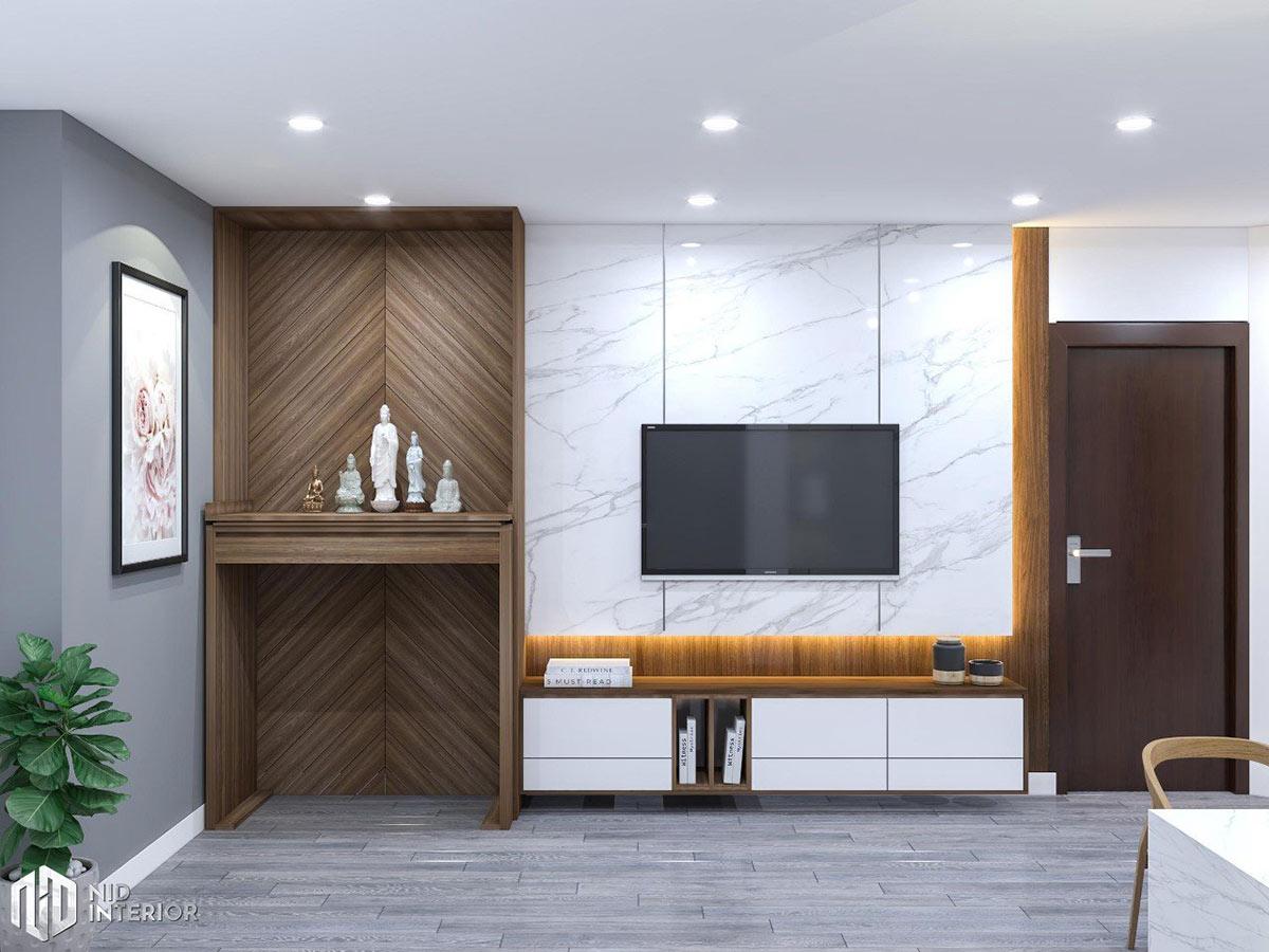 Cải tạo nội thất căn hộ chung cư 2 phòng ngủ - Kệ tủ tivi